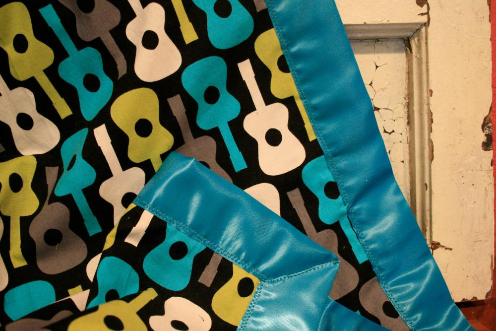 Minky Baby Blanket (Lovey Sized) in Groovy Guitars with a Silky Satin Trim - Personalization Available- Made To Order